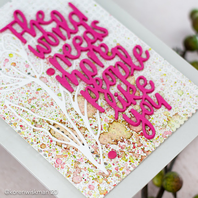 simon says stamp, blog party, just because word mix 2, crocus flowers, stitching panel die, watercolor, cardstock, mix media background