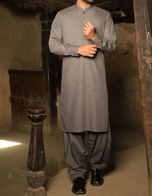 J. Junaid Jamshed winter dull grey color for men