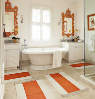Orange framed wall mirrors for unique bathroom decor ideas also with wall arts and bathroom rugs
