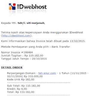 email invoice di idwebhost