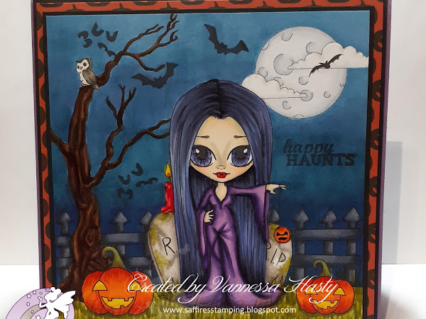 Hallowe'en Scene Card Featuring Autumn Rosie the Yo-Yo Vamp