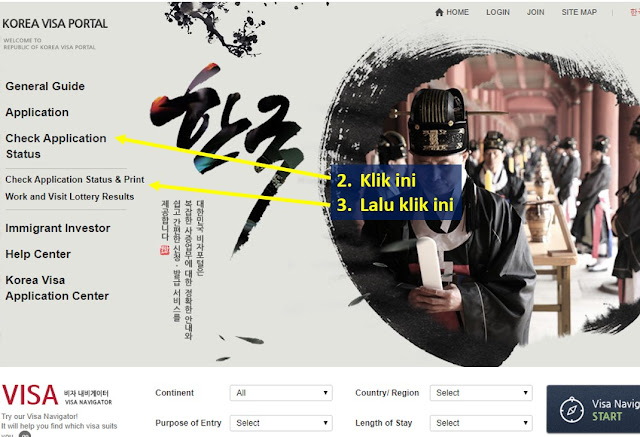cara cek visa korea online langkah 2