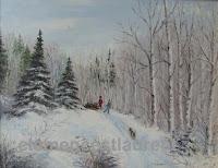Avant les Fêtes, huile 14 x 18 par Clémence St-Laurent - enfants avec leur chien qui ramènent un conifère coupé de la forêt