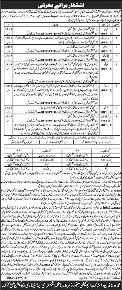 CT, CTI, DM, PET, TT, AT, Qari, Primary School Teacher Jobs in Karak