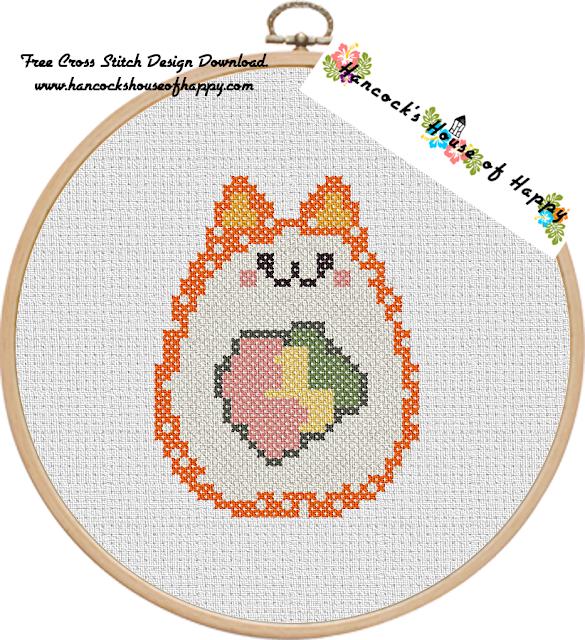 Sushi Cat Cross Stitch Design: Catifornia Roll (California Roll) Free Cross Stitch Pattern to Download