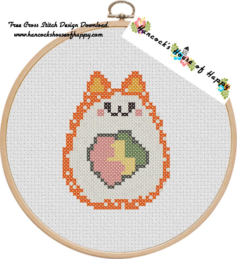 hancock's house of happy: Sushi Cat Cross Stitch Design: Catifornia