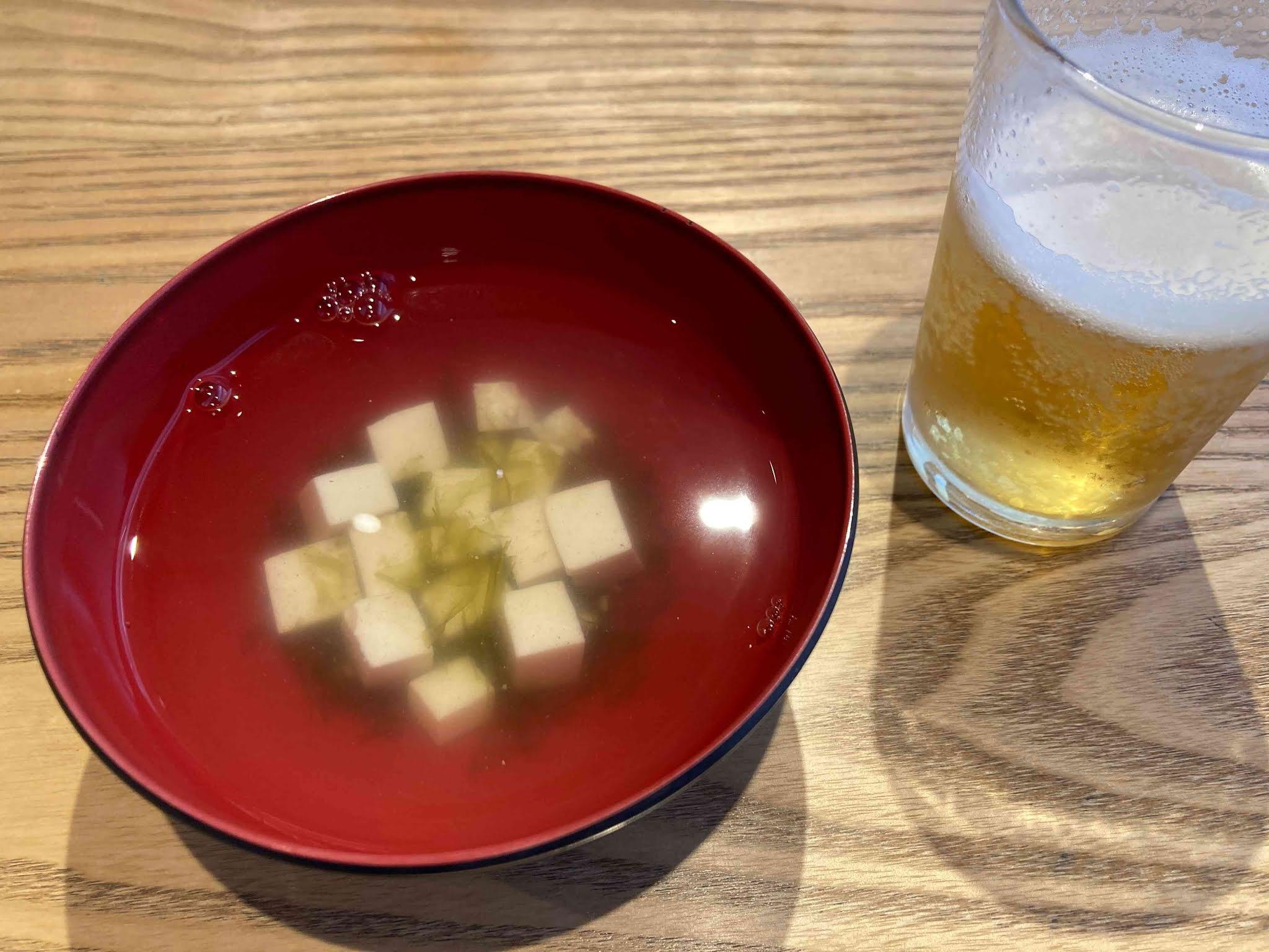 ビールとアーサ汁