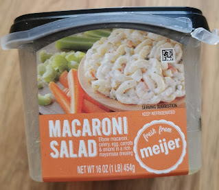 Plastic container of Meijer Macaroni Salad