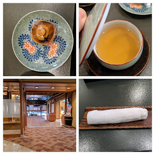Staying at an onsen ryokan: Hotel Tamanoyu lobby and arrival tea service