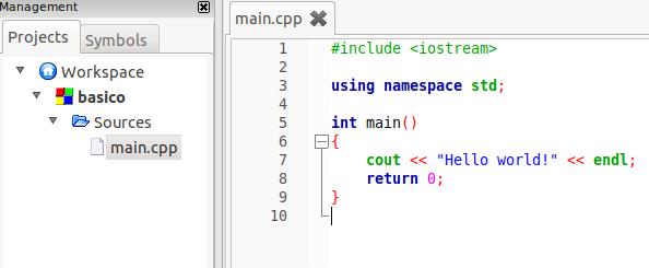 Olá mundo em C++