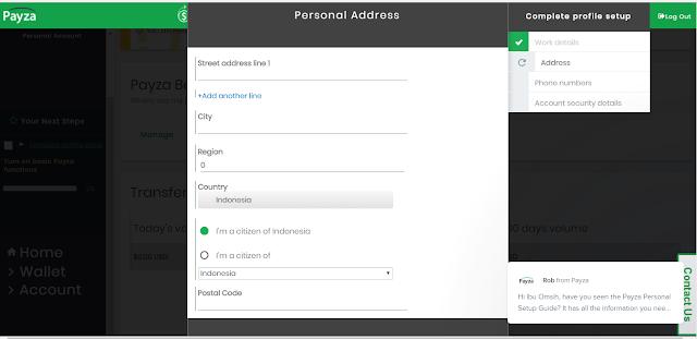 cara mengis form alamat di situs payza
