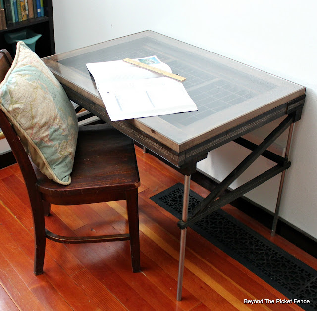 drafting table, desk, industrial, printers tray, pipe, light table, http://goo.gl/mtjRjv