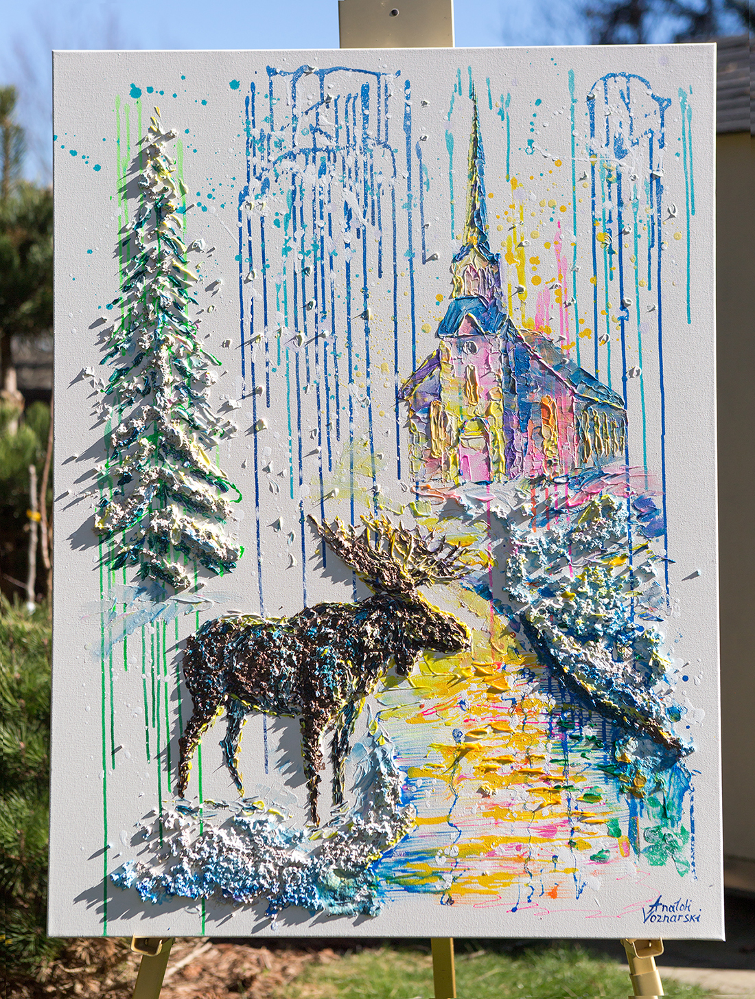 Christmas eve abstract,   office painting, Christmas painting,Christmas eve 3d , moose painting,  dot abstract, church painting, winter painting,  3D abstract, animal painting
