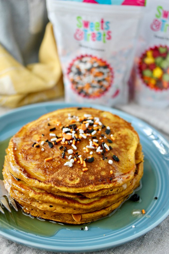 Pumpkin Pancakes with Halloween sprinkles