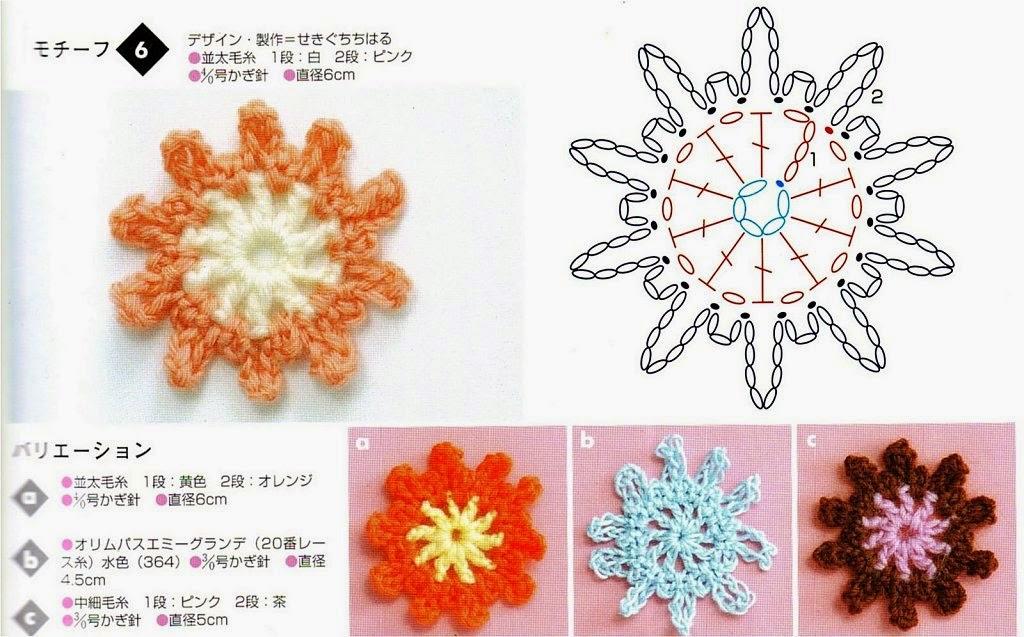 Flores japonesas al crochet | Crochet y Dos agujas - Patrones de tejido