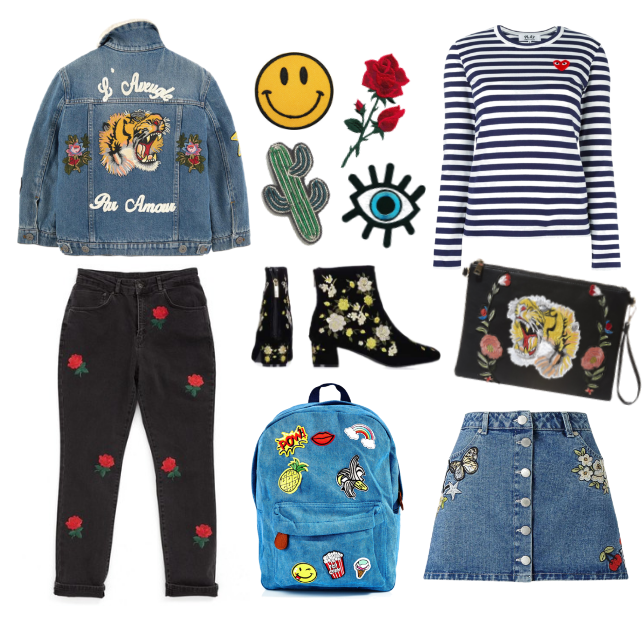 embroidered, boots, topshop, gucci, comme des garcons, stripes, patch