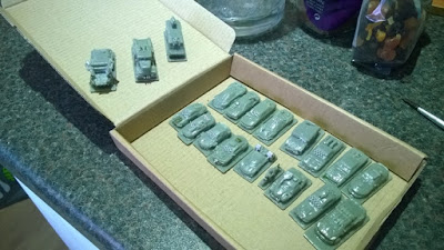 12mm vehicles - SLA printed with some minor metal sheet fencing for car window modding.