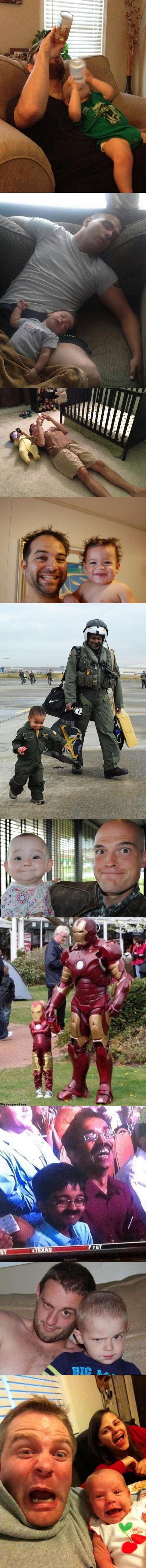 Familienbilder Vater mit Sohn sehen sich ähnlich