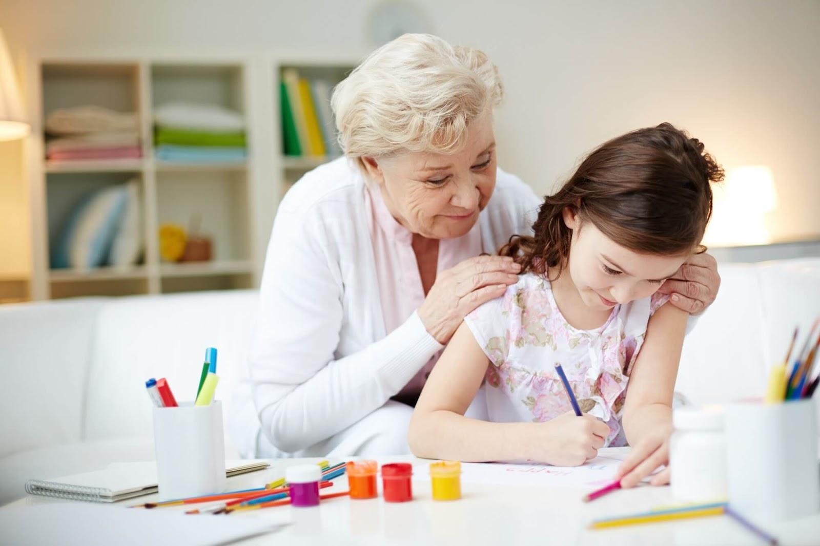 Elderly helping Child