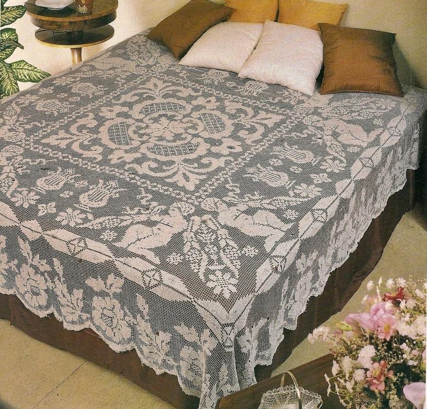 wzór kapy na łóżko filet