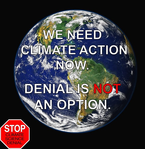 Poster of the Week - We Need Climate Action Now.  Denial Is Not an Option.  Click to Enlarge.