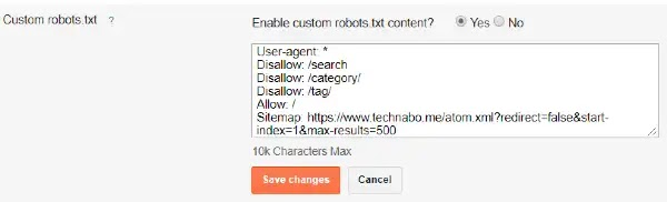 robots.txt sample