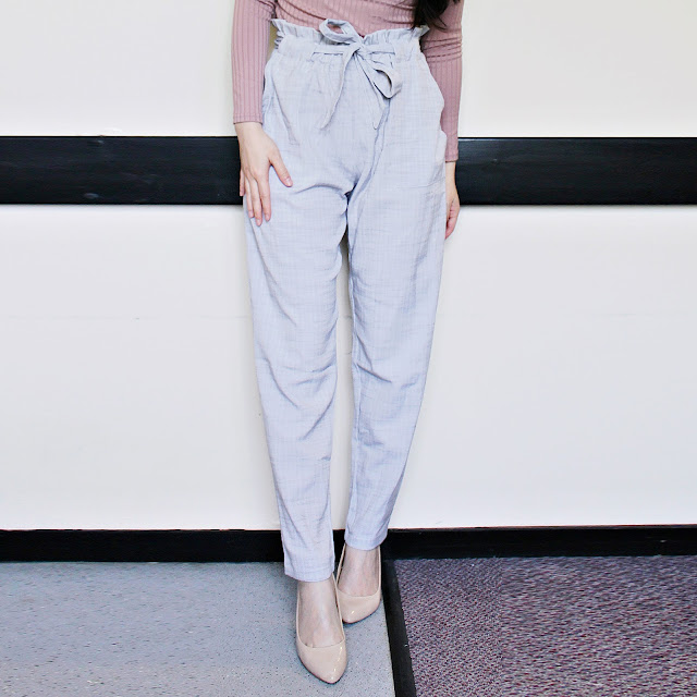 budget boutiques uk, clothes minded blog review, clothesminded shop, clothesminded grey trousers review, grey high waisted trousers outfit, pink choker top outfit, clothes minded choker top