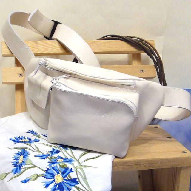 Женская поясная сумка из кожи купить: доставка курьером или почтой. Ручная работа
