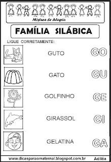 Famílias silábicas alfabetização letra G
