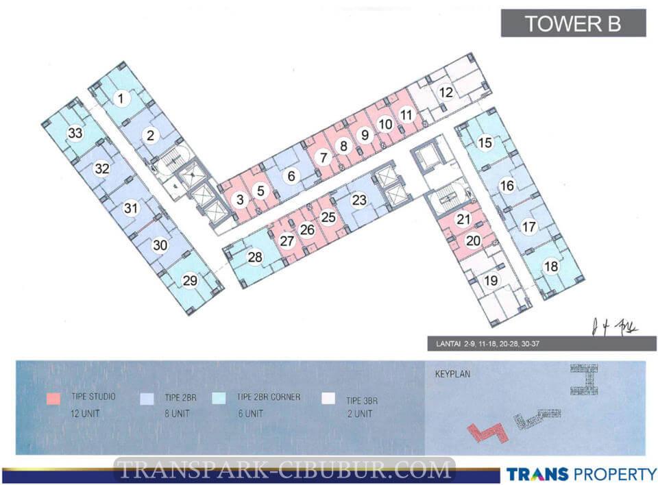 Floor Plan Apartemen TransPark Cibubur Tower B