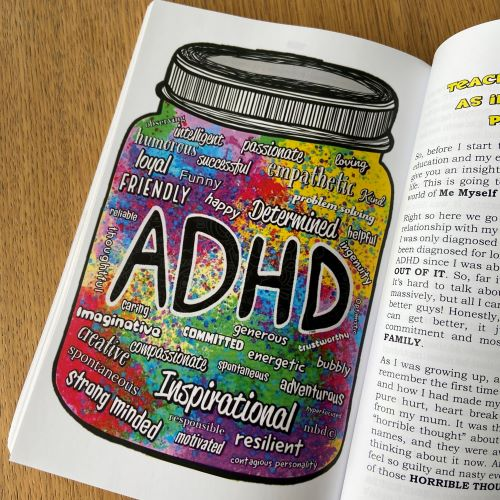 Illustration of a multicoloured jar showing lots of positive words about ADHD