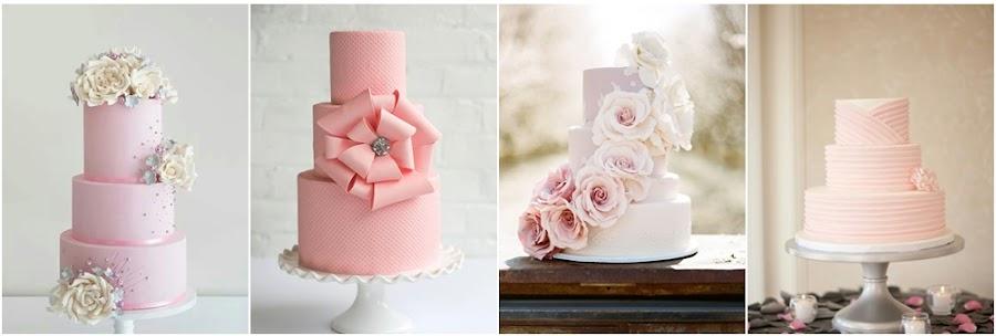 Tartas de fondant rosa para bodas
