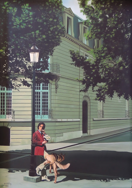 S.M. Félez pintura surrealista hiperrealista perro calle dandy