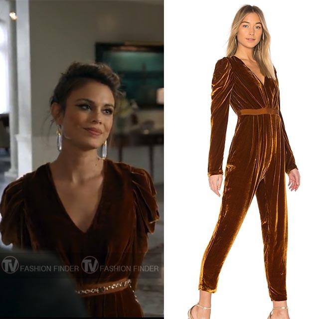 cb4f279f88b5 Nathalie Kelley as Cristal Carrington in brown velvet jumpsuit ulla johnson  dynasty season 1 episode 14