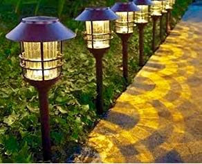 Outdoor pathway lighting.