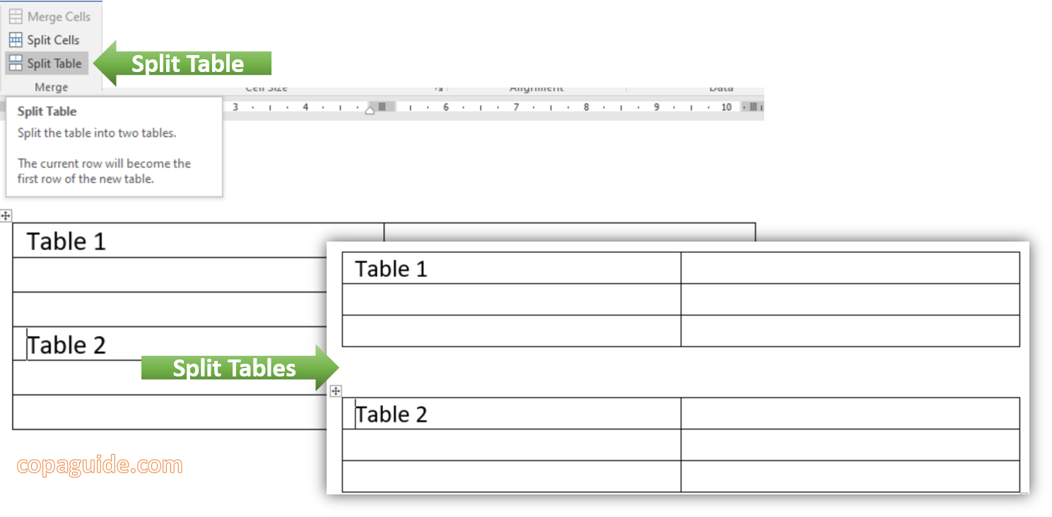 How to Split Tables in MS-Word Hindi Notes