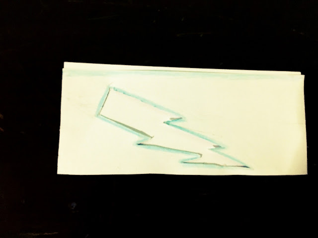 My return and a custom lightning bolt gift card with envelope for holidays and birthday