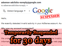 Penangguhan sementara account | Temporarily suspended account | Adsense