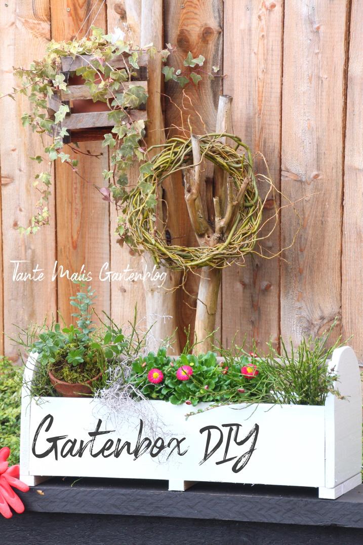 Gartenbox mit Frühlingsbepflanzung