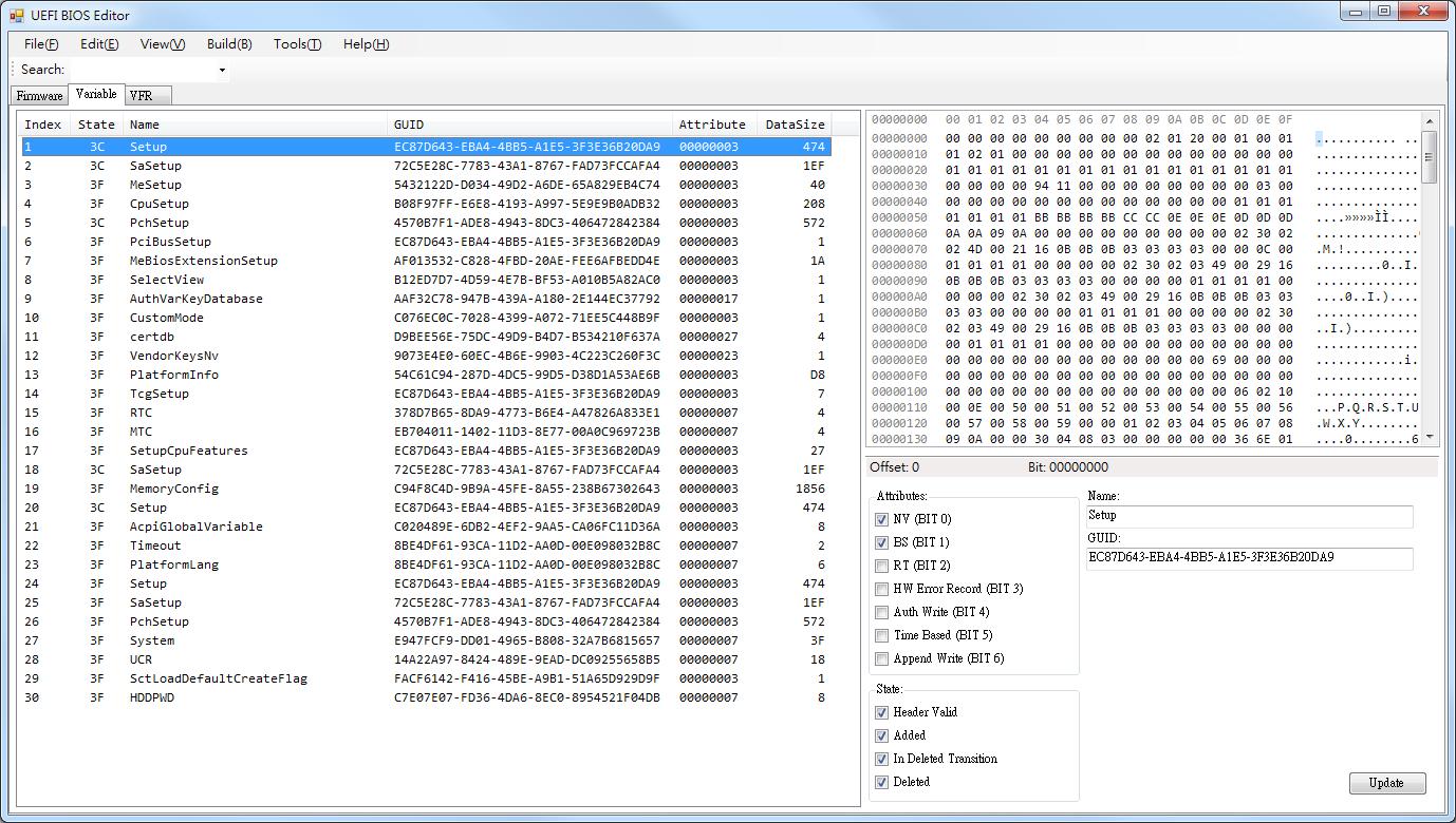 Leon Notes: UEFI BIOS Editor