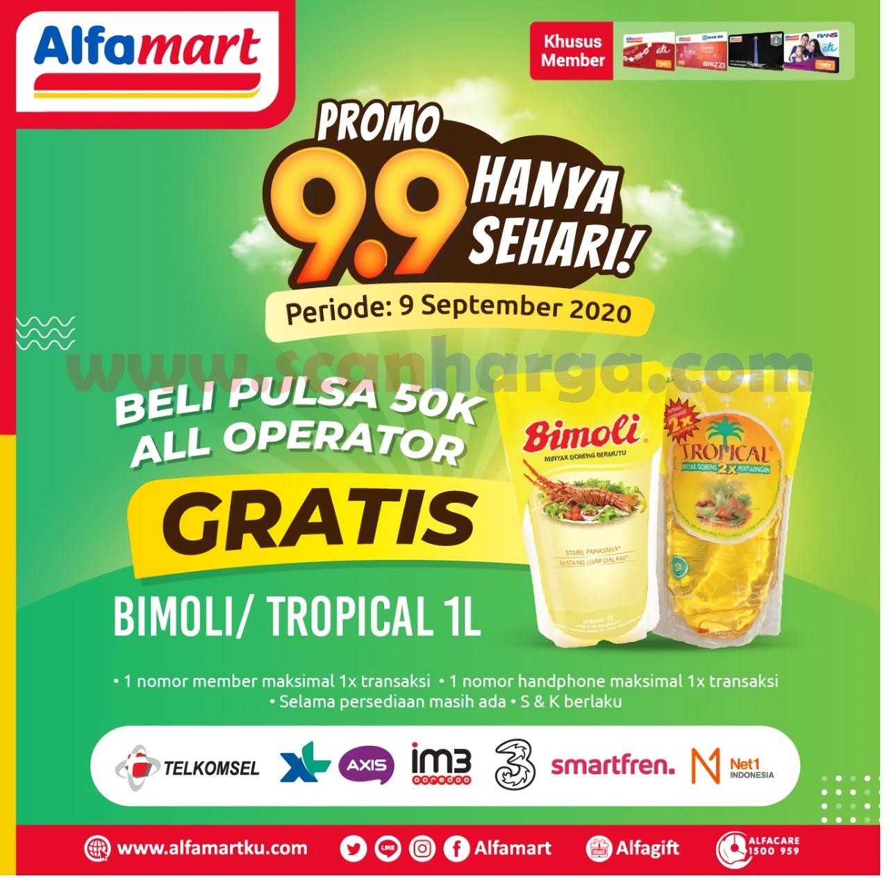 Alfamart Promo 9.9 Hanya Sehari - Beli Pulsa 50K All Operator Gratis Bimoli / Tropical 1 Liter