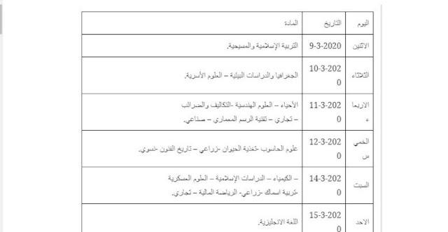جدول امتحانات الشهادة السودانية 2020
