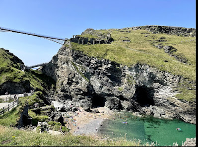 Tintagel Castle ruins from the cliff opposite