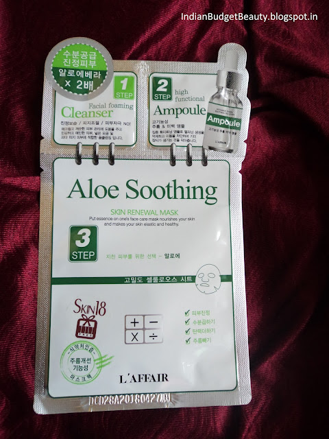 L'affair Aloe Soothing 3 Step Skin Renewal Mask Ft. Skin18.com REVIEW