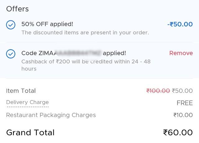 Zomato Free Food Offer