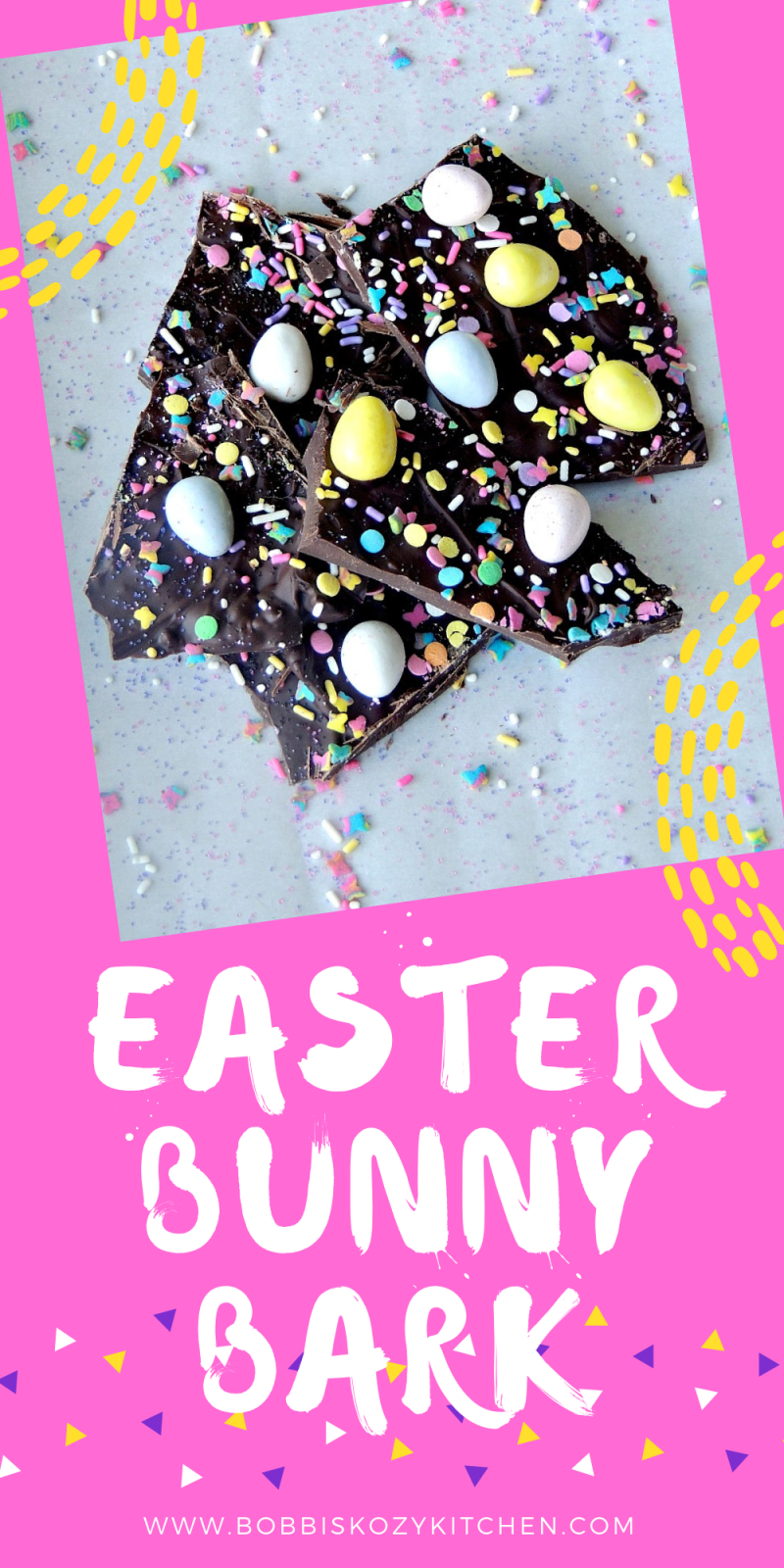 Easter Bunny Chocolate Bark - The kids will love this Easter Bunny Chocolate Bark candy recipe! How can you go wrong with chocolate and sprinkles? #chocolate #candy #easter #bunny #Bark #sweets #dessert #spring #recipe
