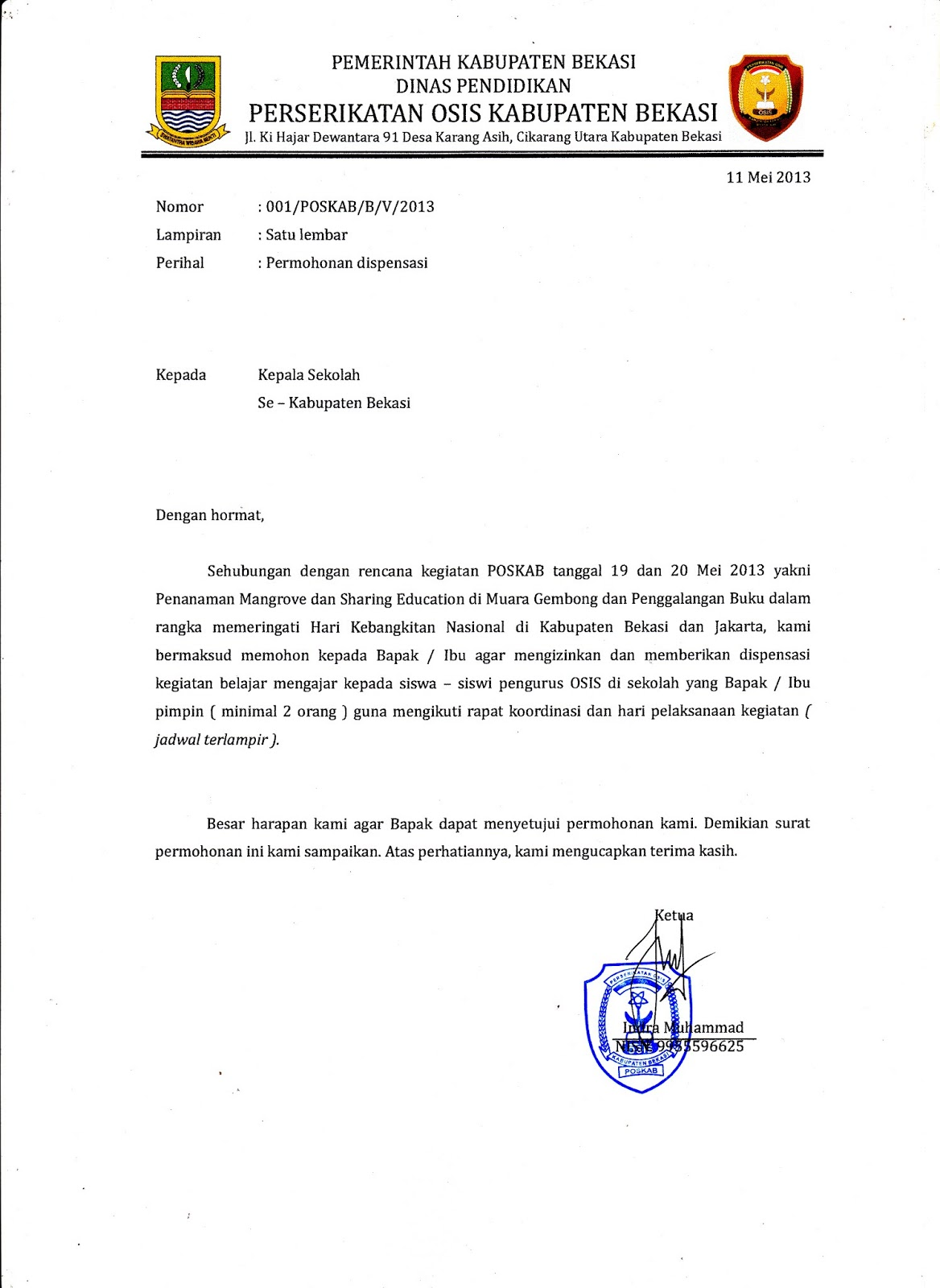 Contoh Surat Dispensasi Sekolah
