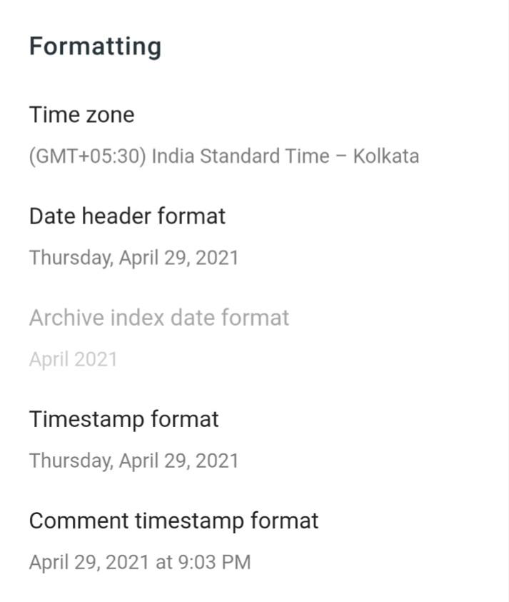 Blogger formatting settings