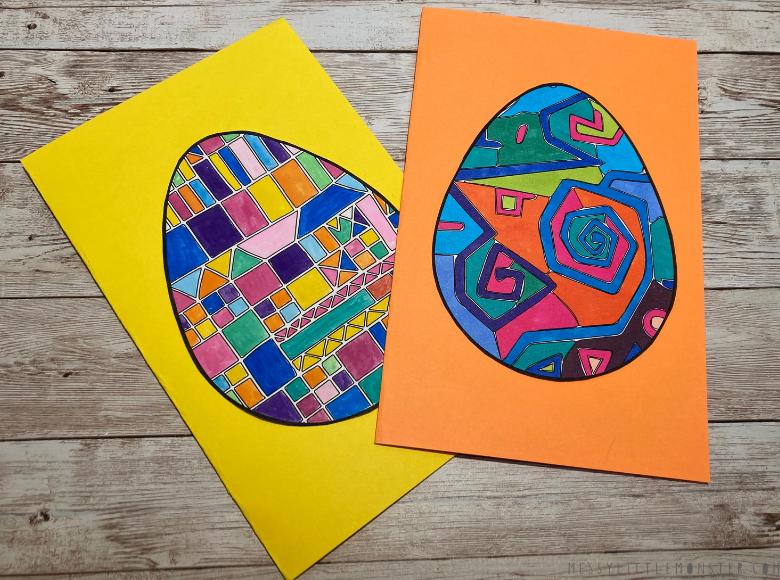 Easter egg craft made from Easter egg template