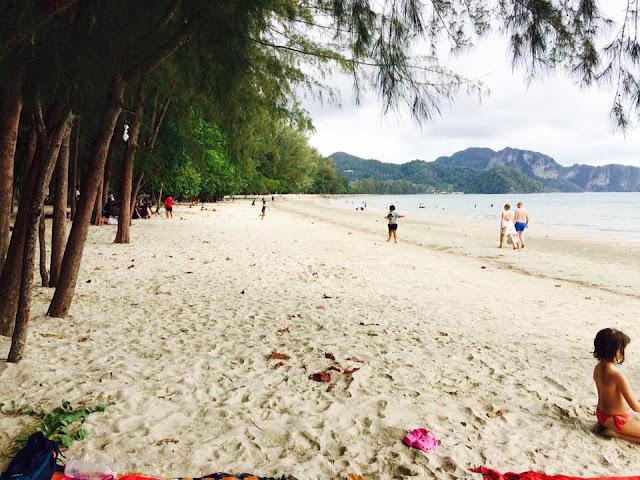 หาดนพรัตน์ธารา เป็นหาดที่เชื่อมต่อกับหาดอ่าวนาง ซึ่งมีเภูเขาลูกเล็กๆ คั่นกลางอยู่ระหว่างไว้ มีทรายสีขาวอมน้ำตาลอ่อนปนเทา น้ำทะเลเป็นสีเขียวอมน้ำเงินเข้มและมีตะกอนมาก ตลอดแนวชายหาดร่มรื่นด้วยต้นสน บริเวณด้านหน้าชายหาดสามารถมองเห็นทิวทัศน์ของเกาะแก่ง